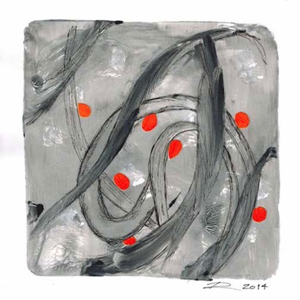"#74 Acrylic and Paper on Paper 7"" H x 7"" W (Matted to 9"" x 9"") 2014"
