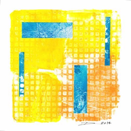 "#90 Acrylic and Paper on Paper 7"" H x 7"" W (Matted to 9"" x 9"") 2014"